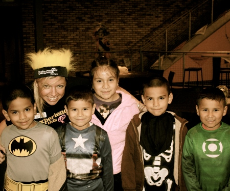 April and all of her Burton kids at Spooktacular